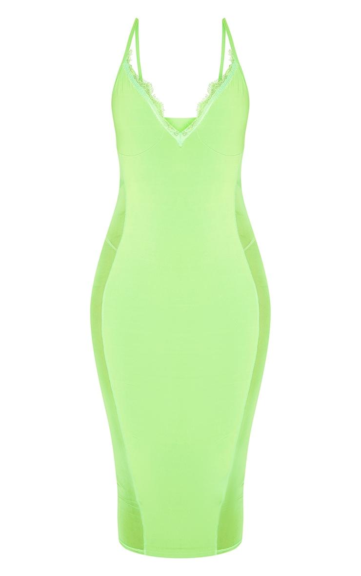 Neon Lime Strappy Mesh Panel Lace Detail Midi Dress 3