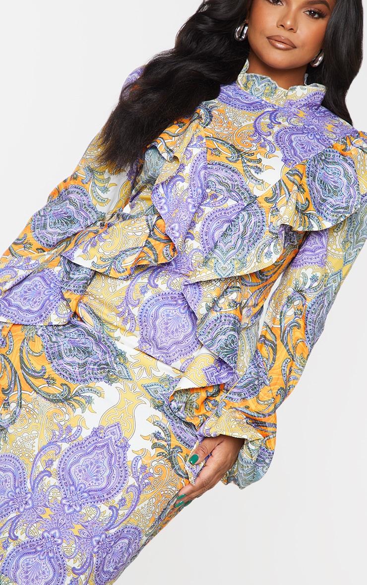 Plus Multi Paisley Printed Frill High Neck Midi Dress 4