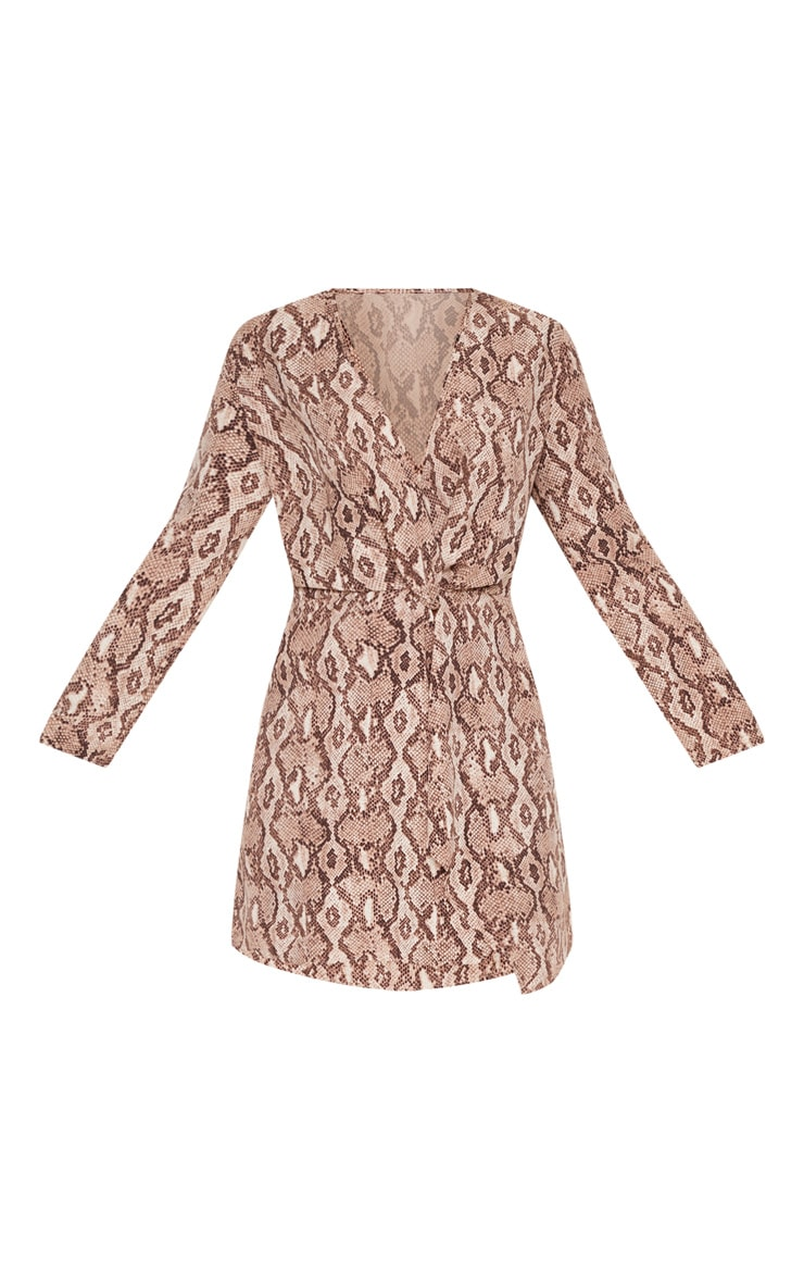 Plus Taupe Snake Print Long Sleeve Wrap Dress 3