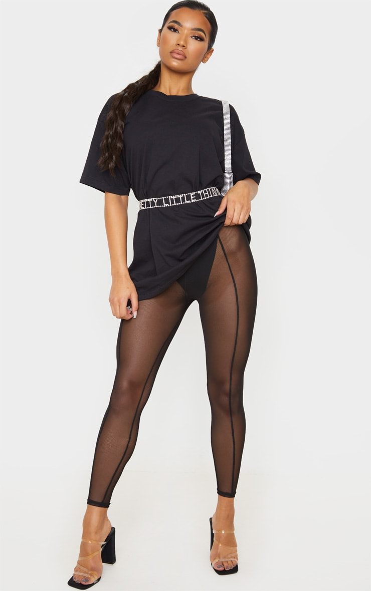 Black Mesh Seam Detail Legging 1