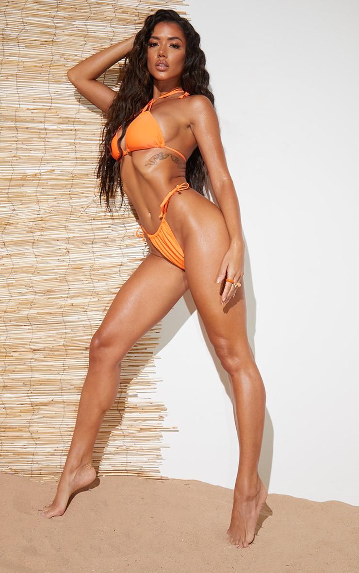 Recycled Orange Mix & Match Mini Ruched Tie Side Bikini Bottoms 3
