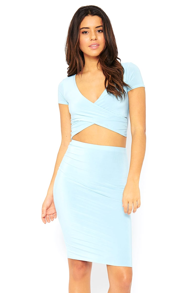 Arabella Powder Blue Slinky Cross Over Crop Top 1