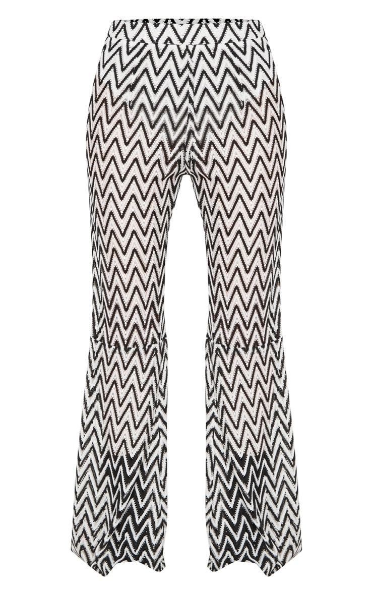 Petite White Chevron Lace Flared Trousers 3