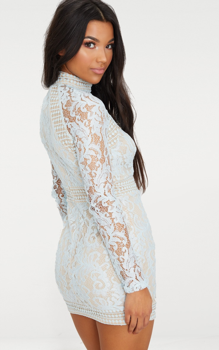 Isobel Dusty Blue Lace High Neck Bodycon Dress 2