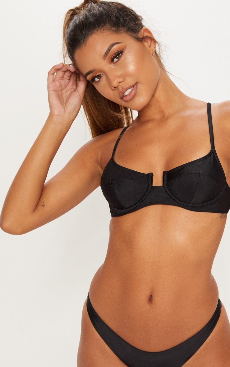 Black Underwired Balconette Bikini Top 1