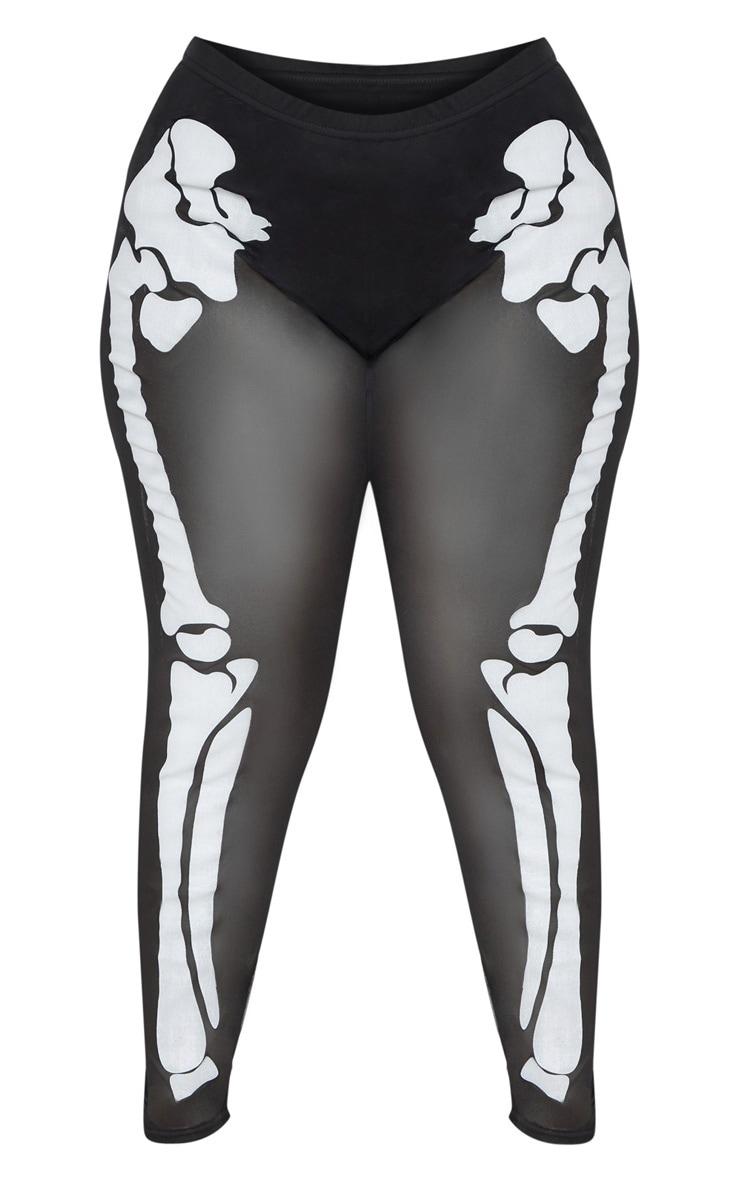 Plus Black Skeleton Print High Waisted Legging 3