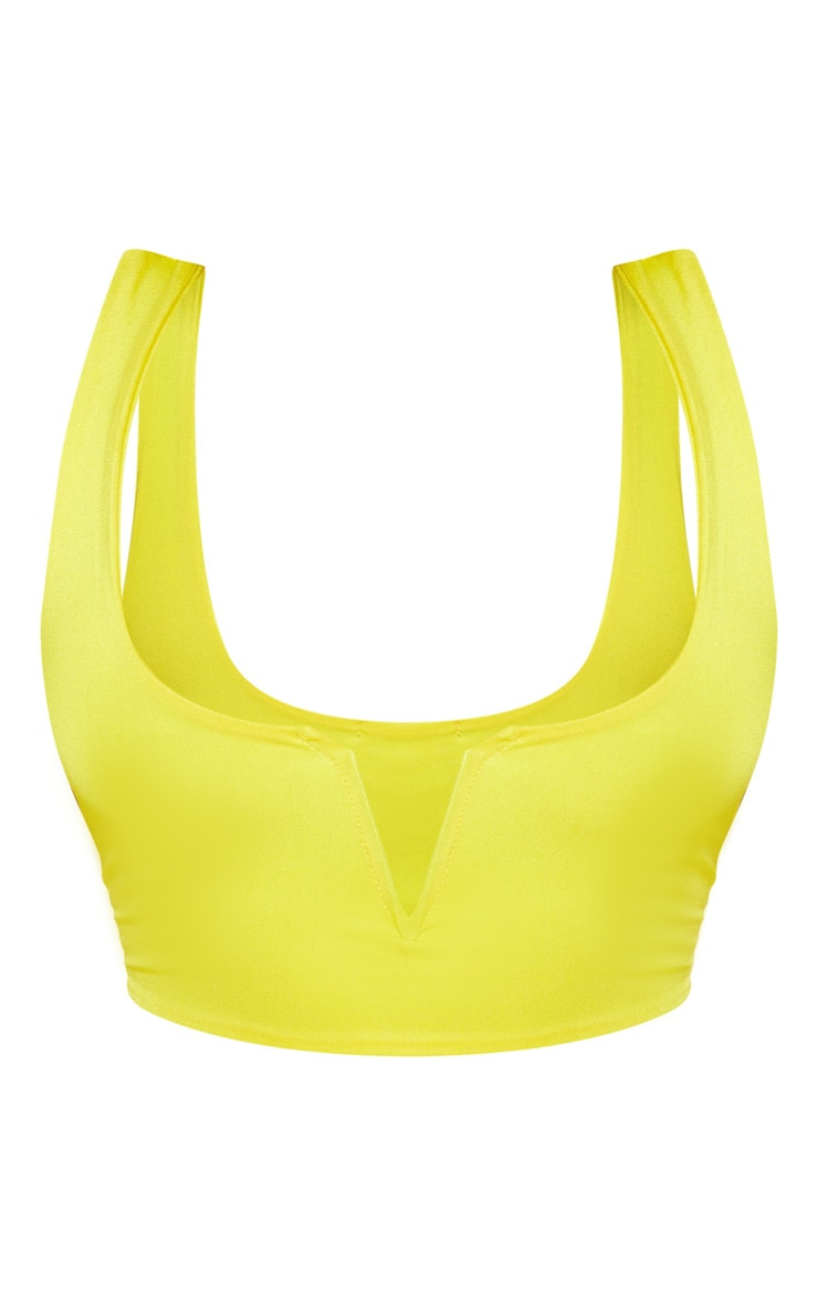 Plus Bright Yellow V Bar Detail Bikini Top 3