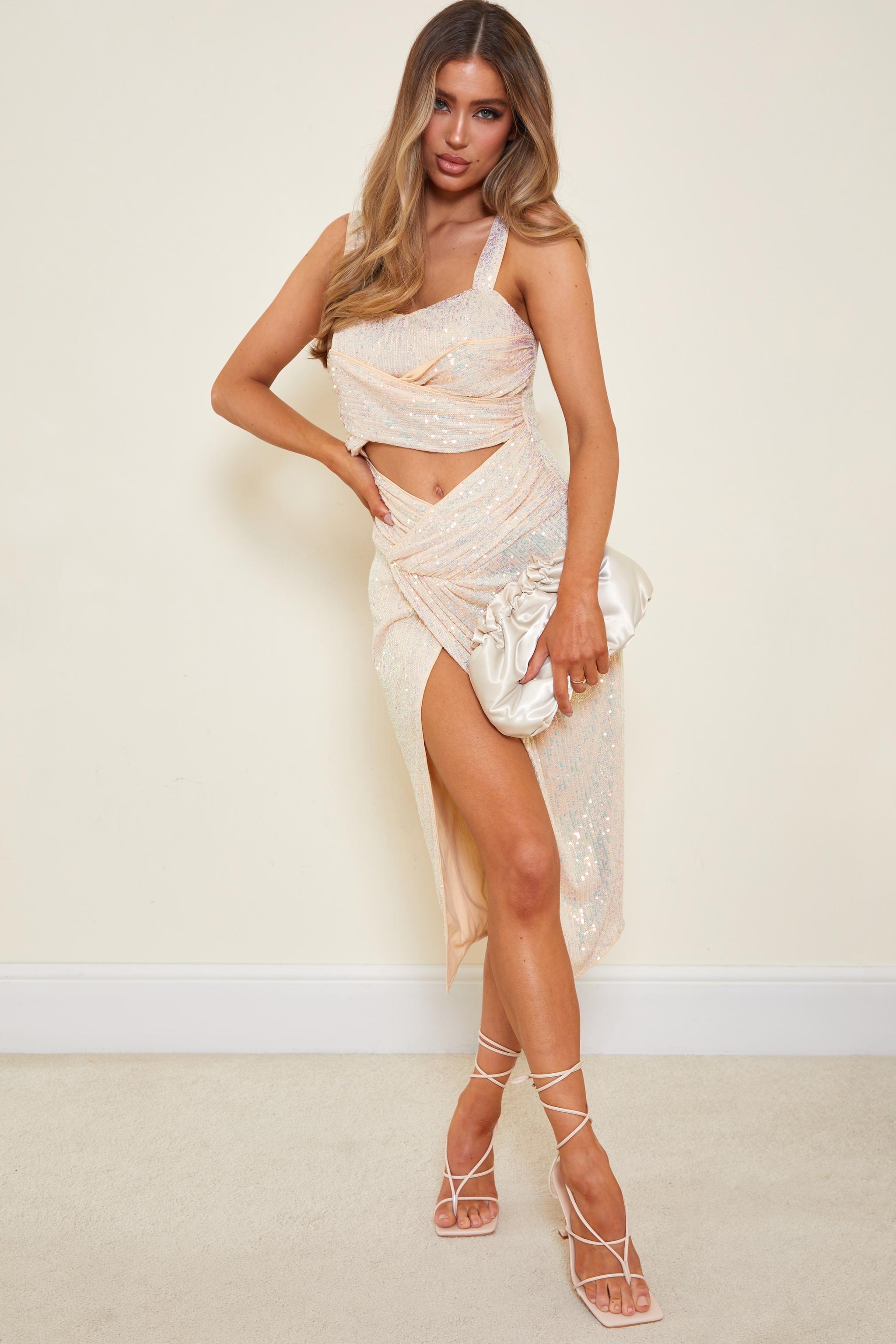 Nude Sequin Cut Out Twist Detail Sleeveless Midi Dress 1