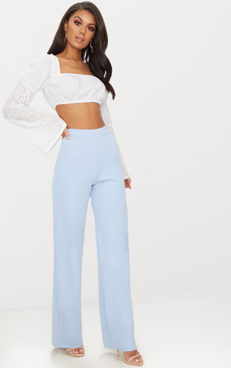 Pale Blue Wide Leg Scuba Trousers 1