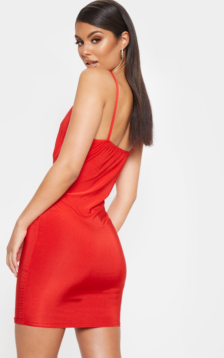 Red Strappy Bust Detail Bodycon Dress 2