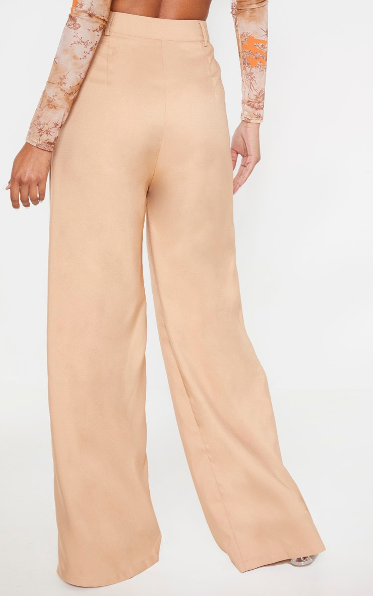 Camel Wide Leg Woven Pleat Trouser 4