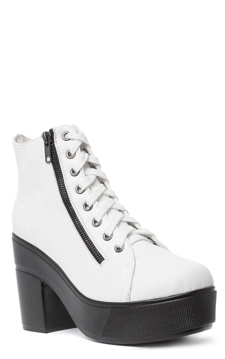 Mila White Lace Up Boot  3
