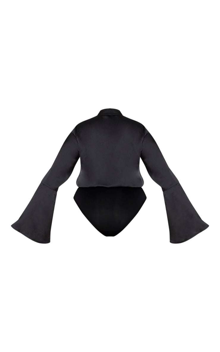 Plus Black Satin Tie Neck Cut Out Bodysuit 6