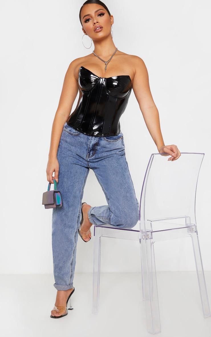 Petite - Top corset noir en vinyle 4