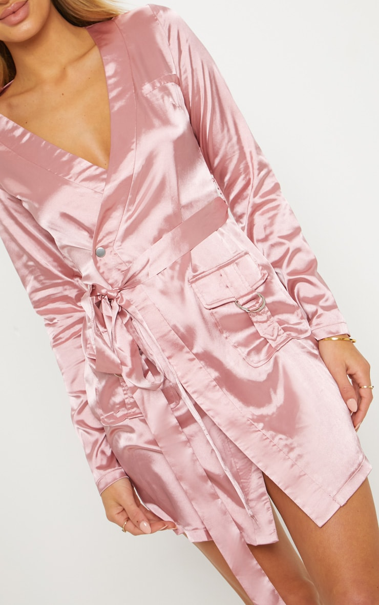 Rose Satin Utility Long Sleeve Bodycon Dress 5