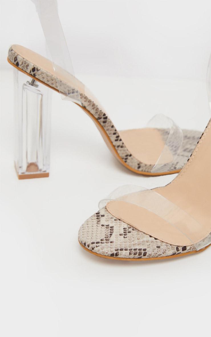 Snake Clear Block Heel Sandal 5