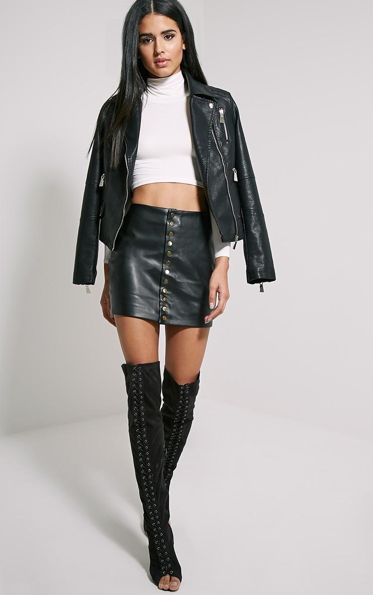 Elara Black Faux Leather Gold Popper Mini Skirt 5