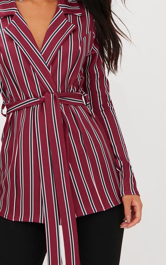 Burgundy Belted Stripe Blazer 5
