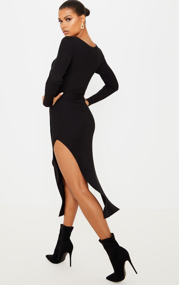 Black Long Sleeve Belted Knit Rib Dress 3