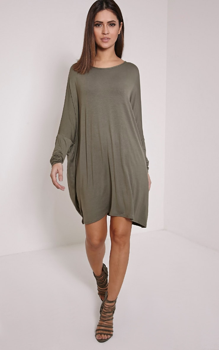 Basic Khaki Long Sleeve Jersey Dress 1