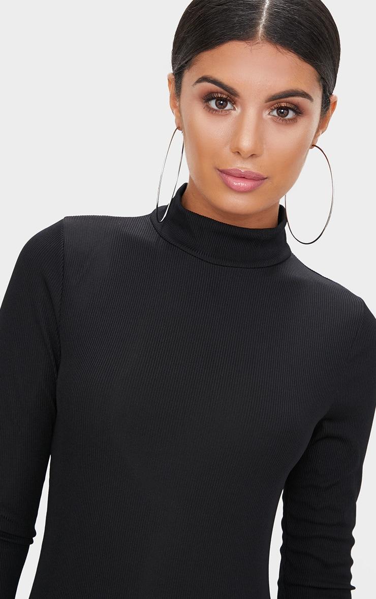 Black Ribbed Long Sleeve Midi Dress 5