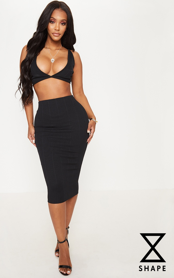 Shape Black Bandage Midi Skirt