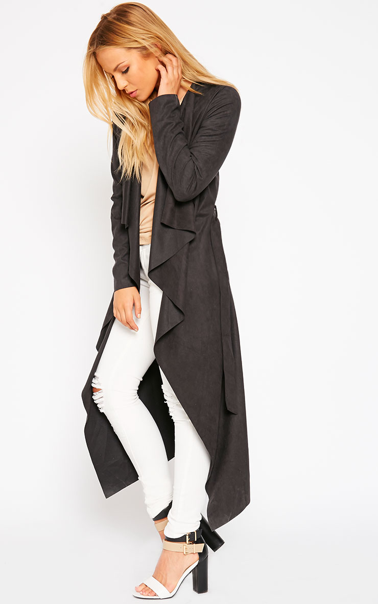 Liberty Black Suede Waterfall Coat 3