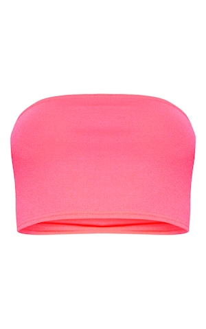PRETTY LITTLE THING NEON PINK BANDEAU CROP TOP SIZE 4 10 AND 16 AVAILABLE