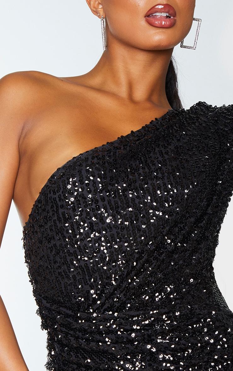 Black Sequin One Shoulder Wrap Skirt Bodycon Dress 4