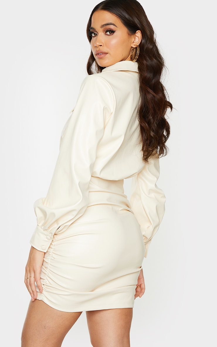 Cream PU Ruched Pocket Detail Shirt Style Bodycon Dress 2