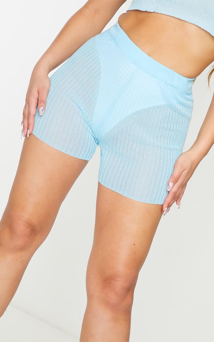 Blue Sheer Knit High Waisted Shorts 5