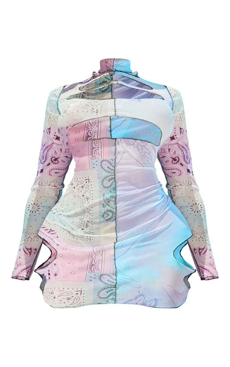 Shape Lilac Mix Print Sheer Mesh Cut Out Bodycon Dress 5