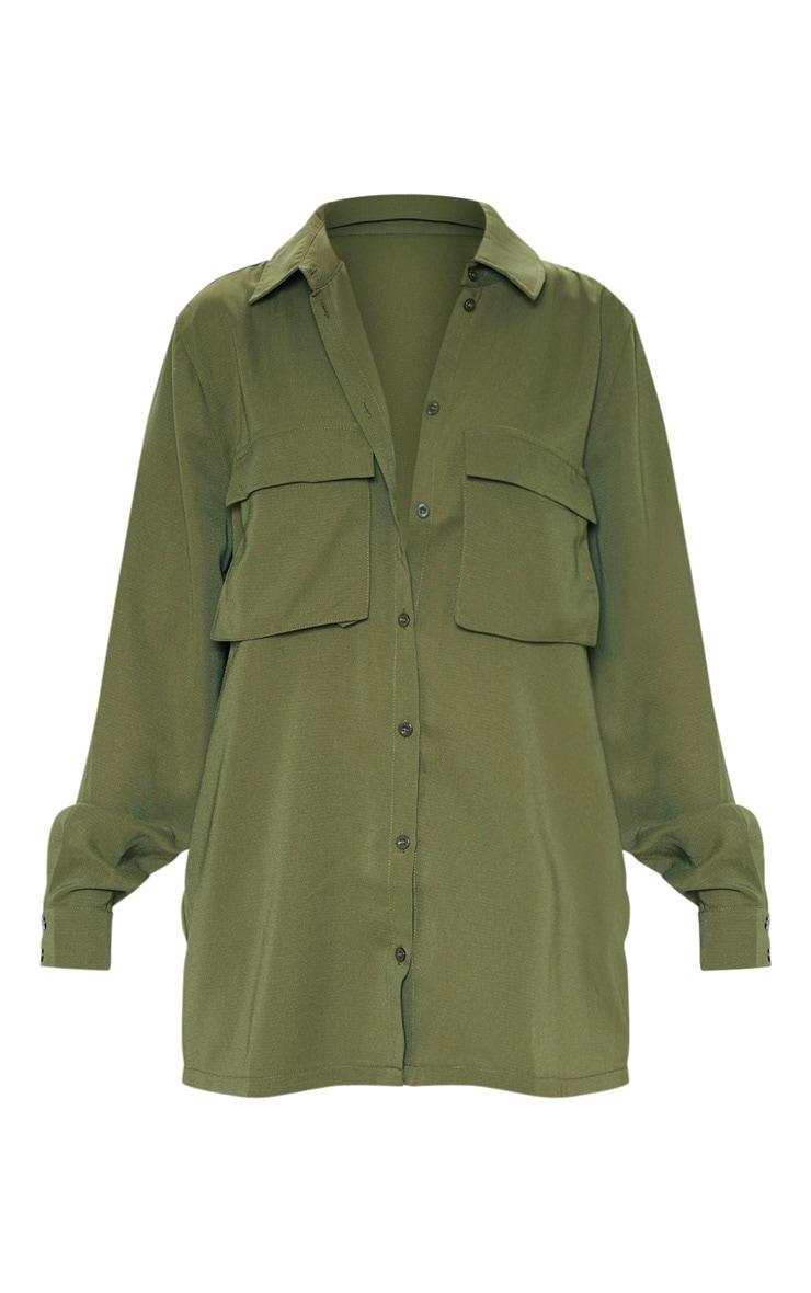 Olive Khaki Oversized Chiffon Shirt 3