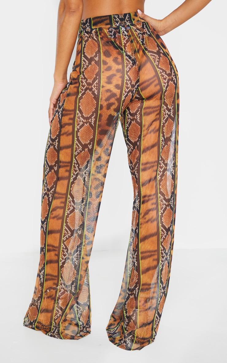 Orange Stripe Tiger Print Mesh Trouser 5