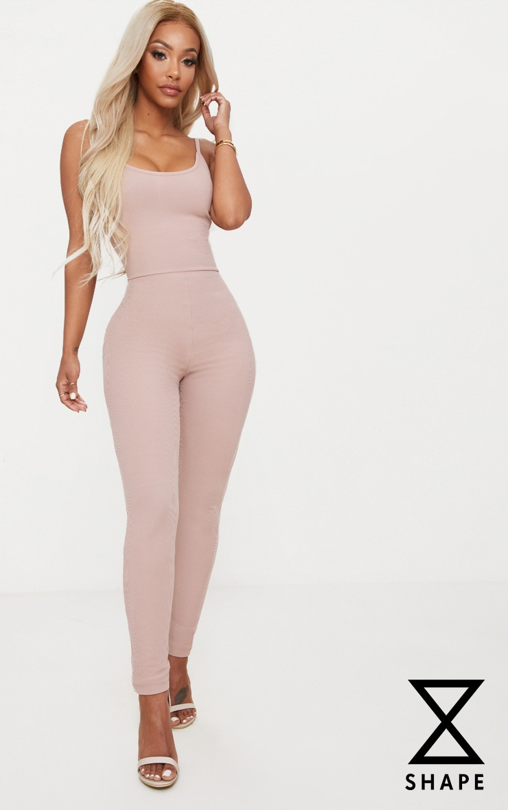 Shape Stone Ribbed Square Neck Jumpsuit