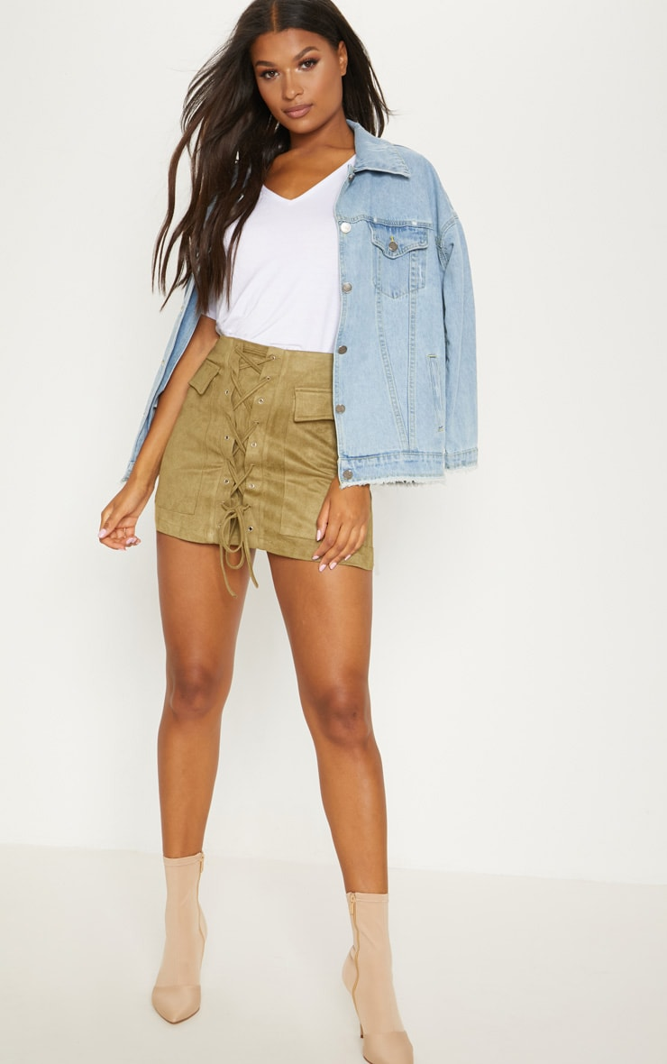 Khaki Faux Suede Lace Up Mini Skirt 5