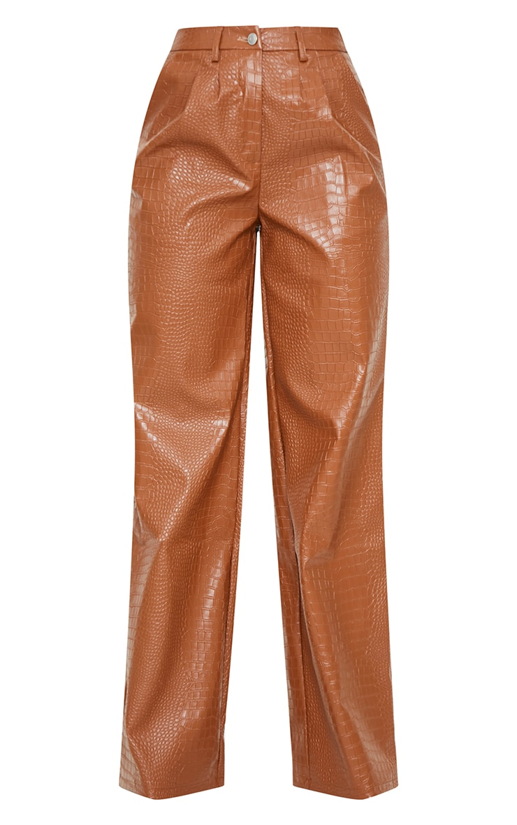 Chocolate Croc Faux Leather Wide Leg Trousers 5