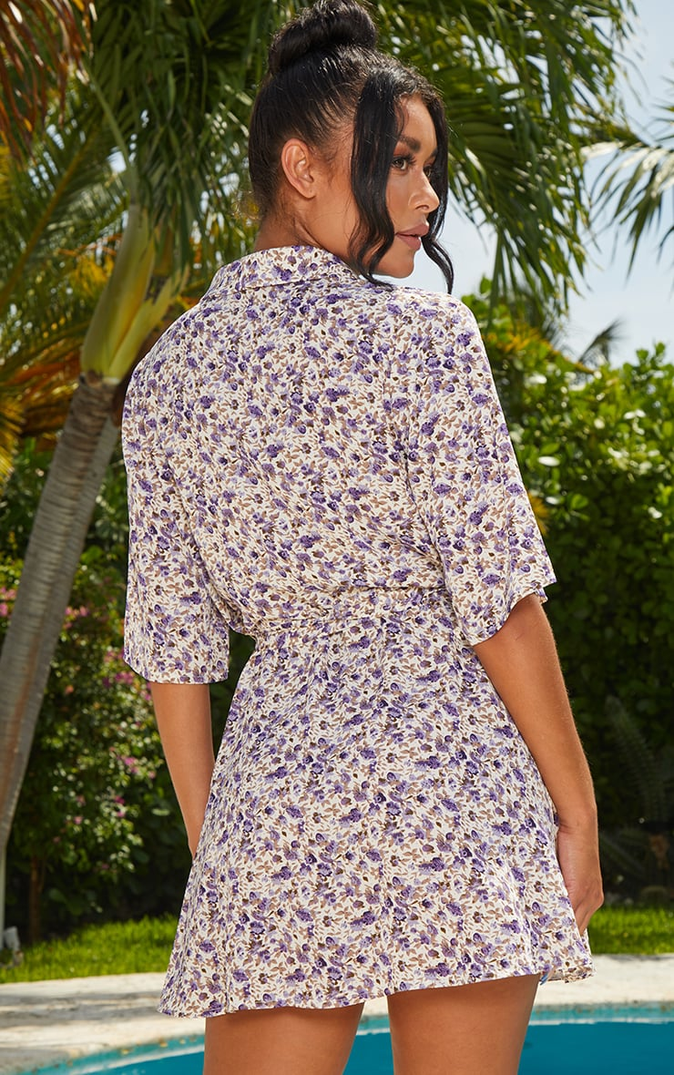 Lilac Floral Print Tie Tea Dress 2