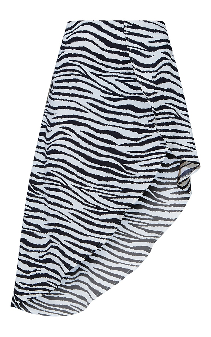 Zebra Print Satin Asymmetric Skirt 6