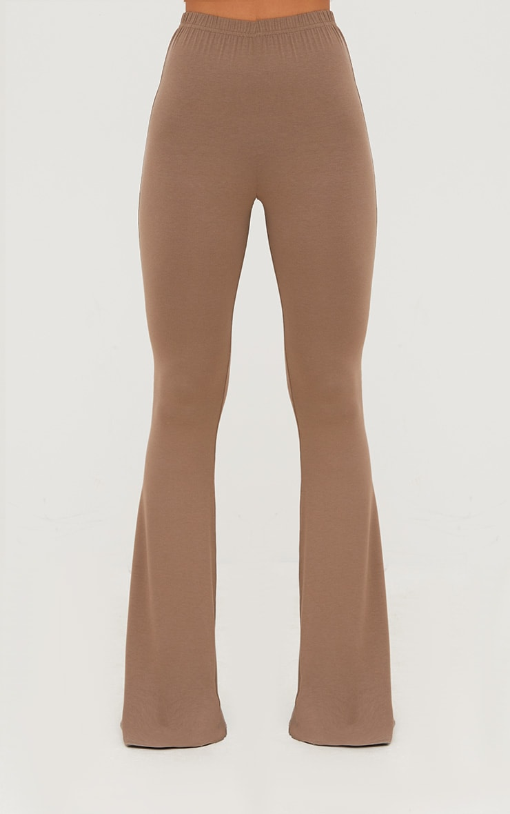 Mocha Jersey Flared Trousers 2