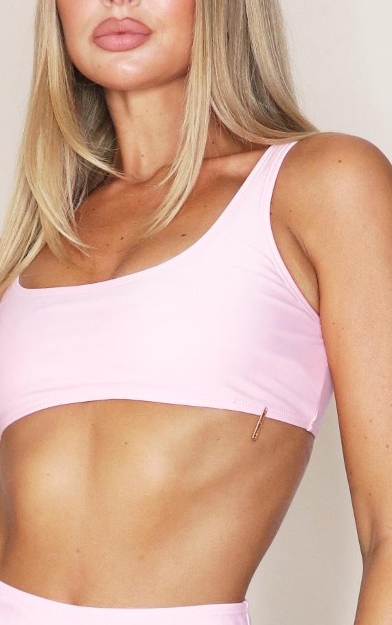Baby Pink Mix & Match Square Scoop Neck Bikini Top 4