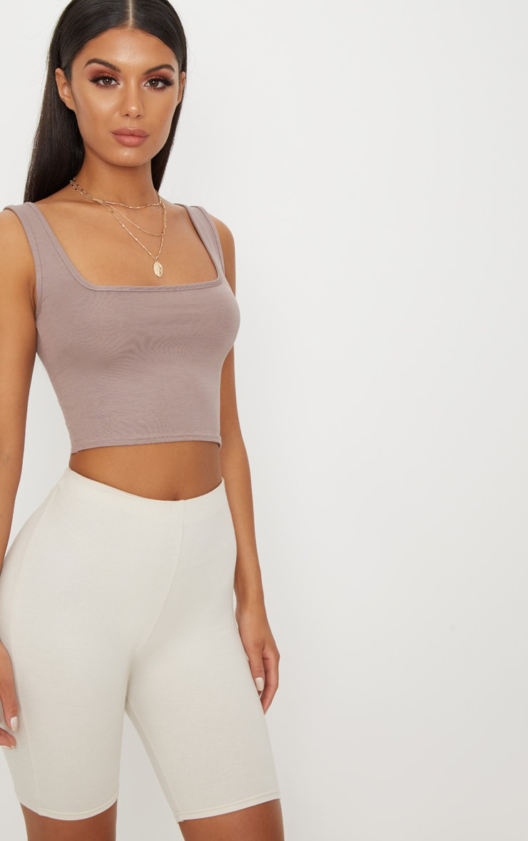 Basic Taupe Jersey Square Neck Crop Vest 1