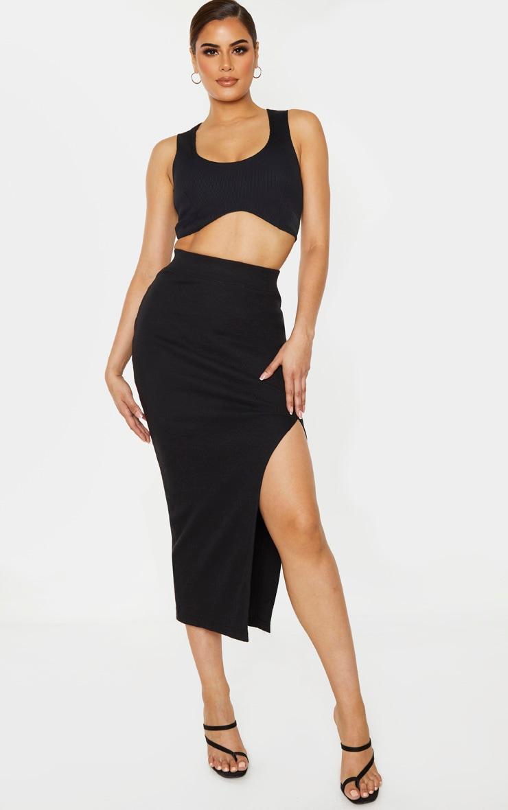 Tall Black Heavy Rib Midi Skirt 1