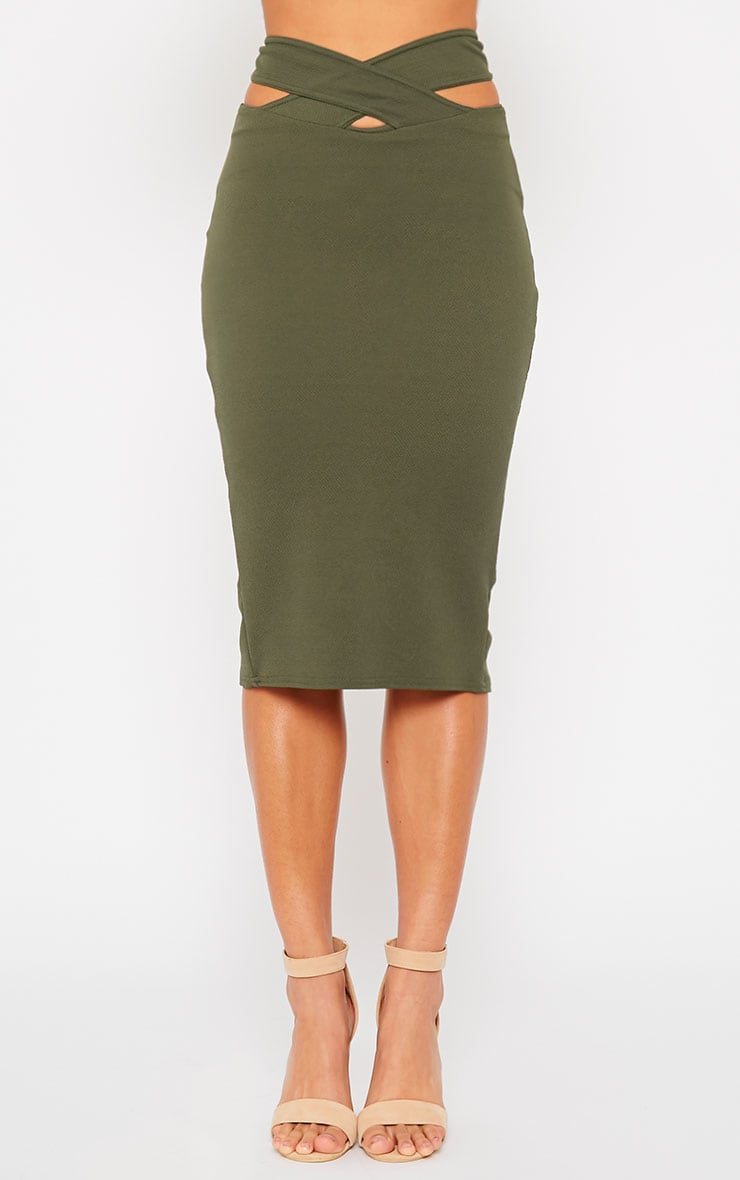Shanel Khaki Cut Out Midi Skirt 2