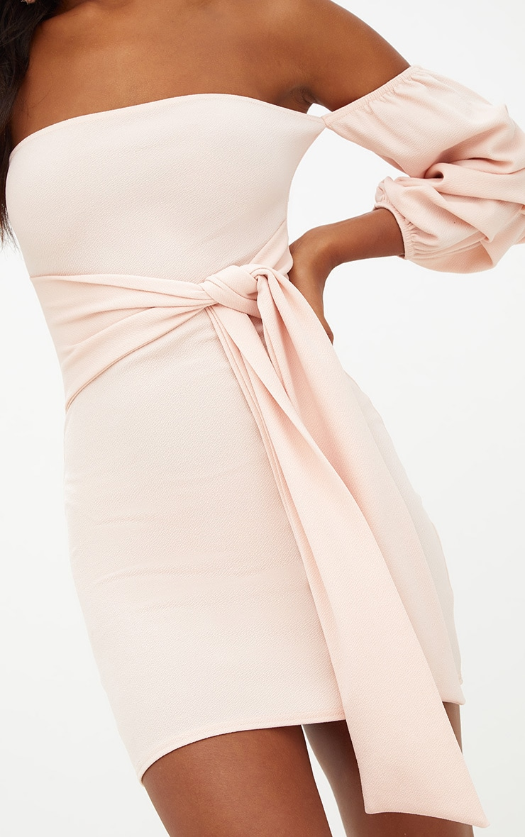 Nude Puff Sleeve Tie Front Bodycon Dress 5