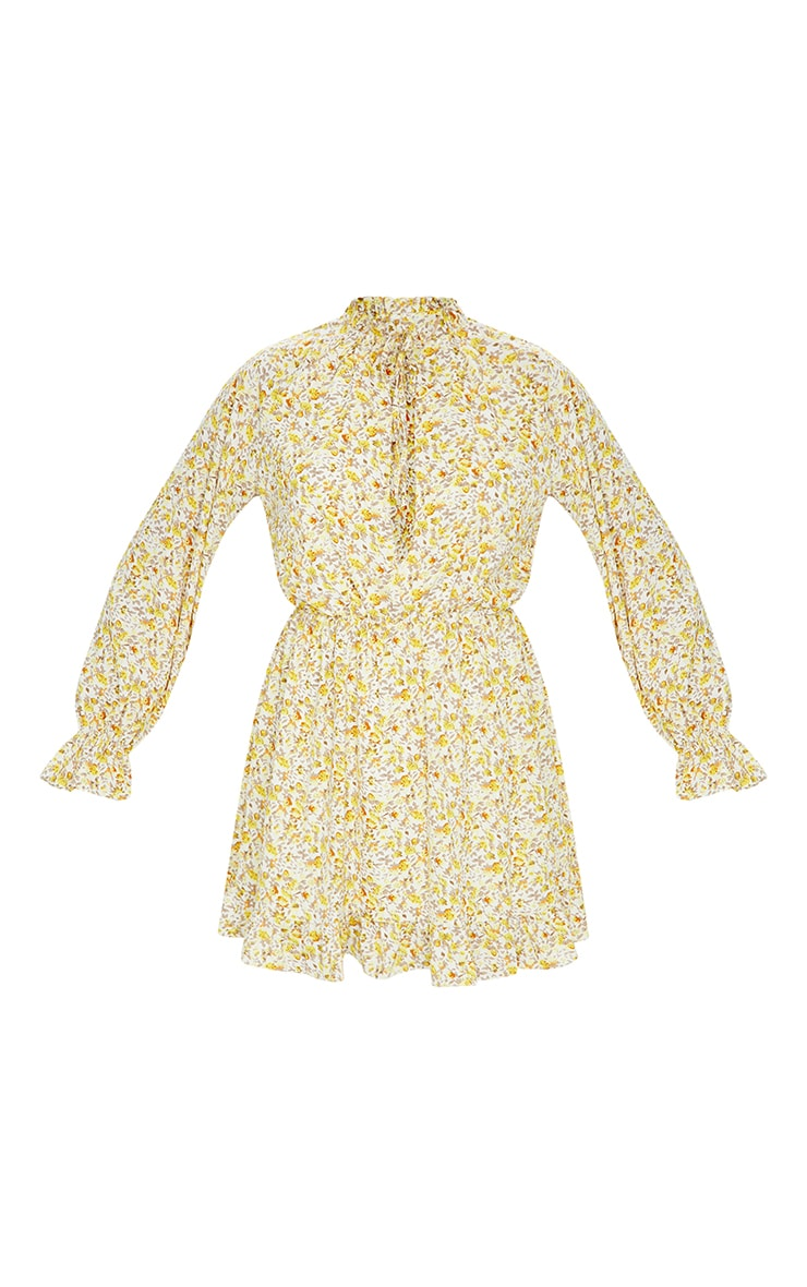 Lemon Floral Print Elasticated Frill Cuff Smock Dress 5