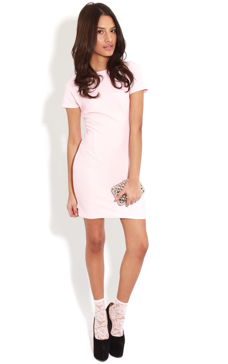 Lillie Dusty Pink Ribbed Bodycon Mini Dress 3