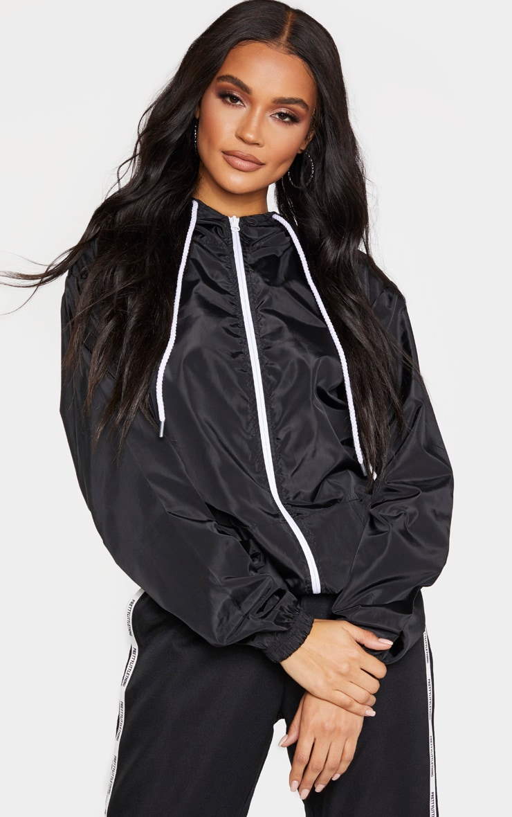Black Contrast Zip Up Hooded Mac 1