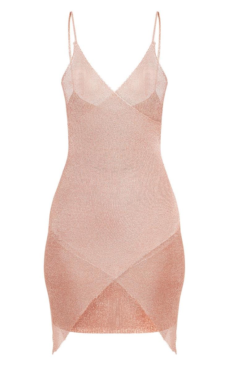 Yazminda Rose Gold Wrap Knitted Metallic Mini Dress 3