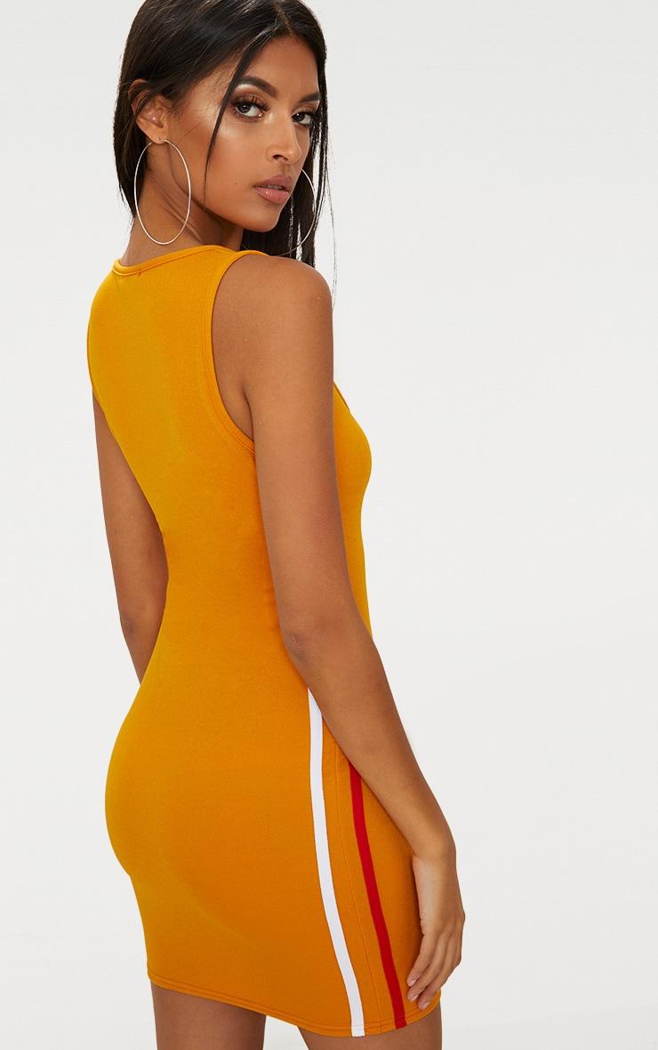Mustard Scoop Neck Sports Stripe Bodycon Dress  2
